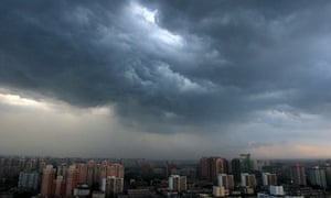 Cloudy skies hang over Beijing prior to a rainstorm
