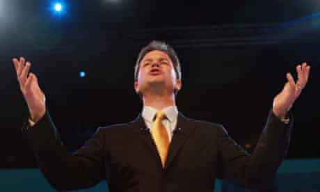 Nick Clegg addresses the Liberal Democrat party conference.