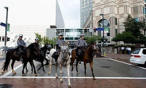 Mounted police outside the David L Lawrence Convention Centre, site of the G20 summit in Pittsburgh.