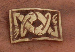 Staffordshire hoard: Gold plaque with entwined stylised arms  from Staffordshire hoard