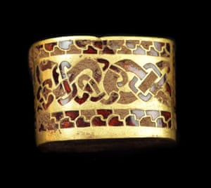 Staffordshire hoard: Gold hilt fitting with inlaid garnets