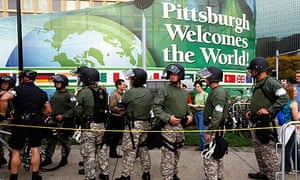 Police officers outside a rally in Pittsburgh, ahead of the G20 summit.