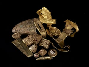 Staffordshire hoard: Cheek piece, fittings and zoomorphic mount
