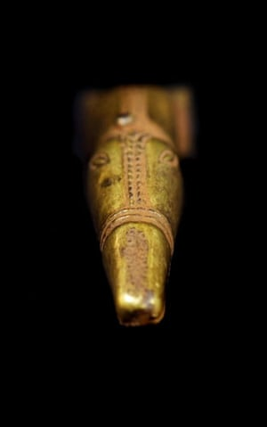 Staffordshire hoard: A figure of an animal, possible from the crest of a helmet