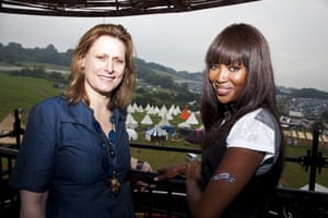 Sarah Brown: with Naomi Campbell at Glastonbury Festival 2009