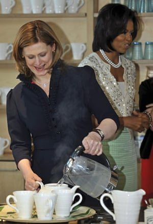 Sarah Brown: pouring a pot of tea for first lady Michelle Obama London 2009