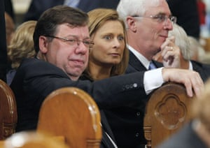 Sarah Brown: sitting with Irish PM Brian Cowen at the funeral of Edward Kennedy
