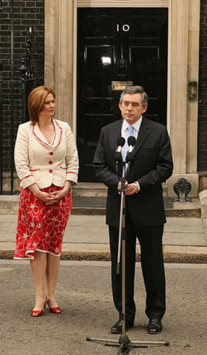 Sarah Brown: with Gordon Brown on his first day as Prime Minister in June 2007