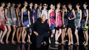 Milan fashion week: Giorgio Armani poses with his models