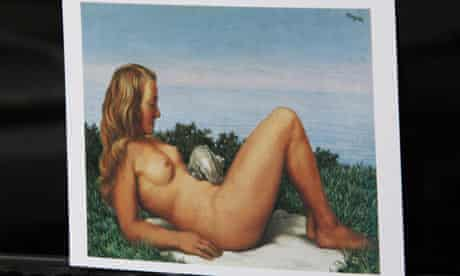"""A postcard showing Rene Magritte's """"Olympia"""""""