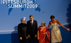 Barack and Michelle Obama with Indian prime minister Manmohan Singh and wife, Gursharan, at the G20