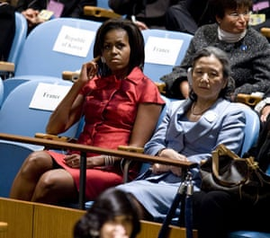 The wives of G20 leaders: US First Lady Michelle Obama with Ban Ki-moon's wife Soon-Taek