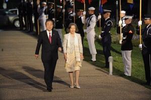 The wives of G20 leaders: United Nations secretary general Ban Ki-Moon and his wife Yoo Soon-Taek