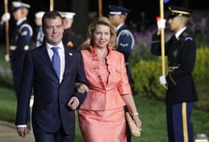 The wives of G20 leaders: Russian president Dmitry Medvedev and wife Svetlana Medvedeva