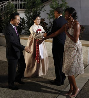 The wives of G20 leaders: South Korean president Lee Myung-bak and his wife Kim Yoon-ok