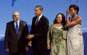 The wives of G20 leaders: Barack and Michelle Obama welcome Jacob Zuma and his wife Nompumelelo Ntuli