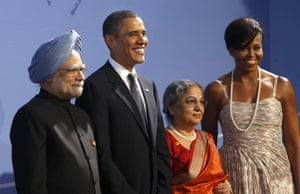The wives of G20 leaders: India's prime minister Manmohan Singh and his wife Gursharan Kaur