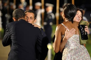 25 September 2009: Nicolas Sarkozy and his wife Carla are greeted by Barack and Michelle Obama
