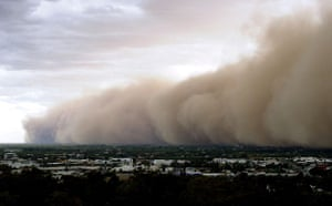 Dust storm: A huge dust cloud rolls over the Australian town of Griffith