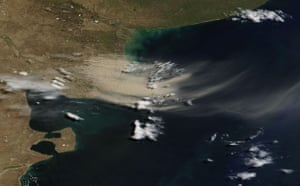 Dust storm: dust storm over Drought-ravaged Patagonia , Argentina