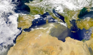 Dust storm: Dust blows across the Mediterranean Sea