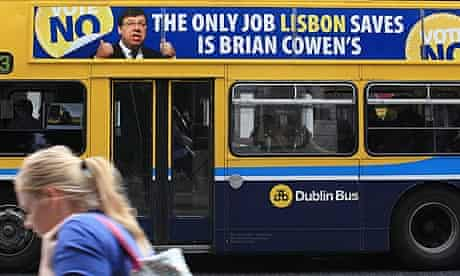 A bus poster urging voters to vote No in a referendum on the Lisbon treaty, in Dublin.