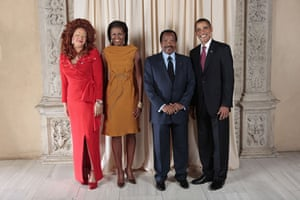 Obama and leaders at UN: Obama with President of the Republic of Cameroon