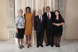 Obama and leaders at UN: Obama with president of the Republic of Kosovo