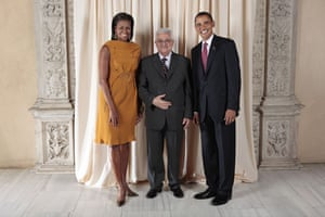 Obama and leaders at UN: Obama with Mahmoud Abbas
