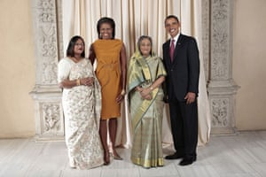 Obama and leaders at UN: Obama with prime Minister of Bangladesh
