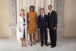 Obama and leaders at UN: Obama with Dmitriy Medvedev