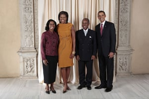 Obama and leaders at UN: Obama with Sir Louis Straker