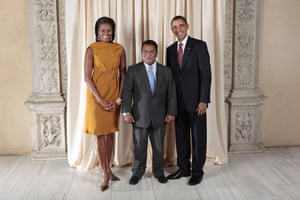 Obama and leaders at UN: Obama with Marcus Stephen