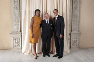 Obama and leaders at UN: Obama with Samuel Santos Lopez