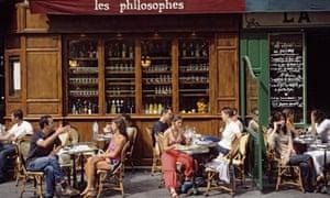 Cafe Terrace on Rue Vieille du Temple in Paris, France