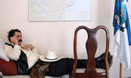 Ousted Honduran President, Manuel Zelaya, inside the Brazilian Embassy, Tegucigalpa, Sept 2009