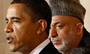 Barack Obama with Afghan President Hamid Karzai, Washington, DC, May 6, 2009