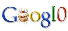 Google's 10th birthday doodle displayed on search page last year