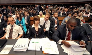 Delegates during the opening of the UN Framework Convention on Climate Change (UNFCCC) in Bangkok
