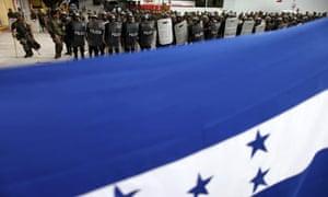 Soldiers guard the Brazilian embassy in Tegucigalpa, Honduras