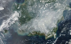 Satellite Eye on Earth: Thick smoke from fire covered southern Borneo, Kalimantan, Indonesia