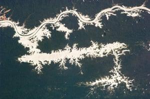 Satellite Eye on Earth: Lake Erepecu runs parallel to the lower Trombetas River in Brazil, Amazon