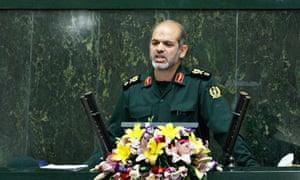 General Ahmad Vahidi delivers a speech to the Iranian parliament.