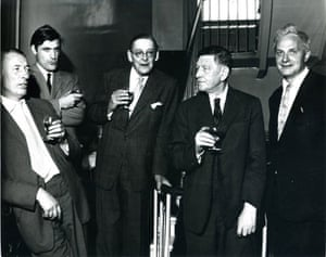 TS Eliot exhibition: Poets MacNeice, Hughes, Eliot, Auden, Spender at the Faber Cocktail Party
