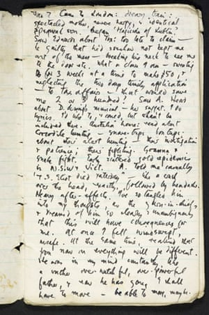 TS Eliot exhibition: Journal entry by Ted Hughes about the death of TS Eliot, 7 January 1965
