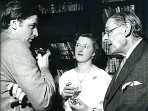 TS Eliot exhibition: TS Eliot, his wife Valerie and Ted Hughes at the Faber cocktail party