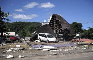 Tsunami in Samoa: A destroyed structure in the village of Leone