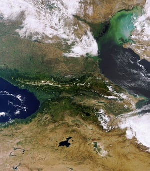 Satellite Eye on Earth: Volga Delta and Caucasus