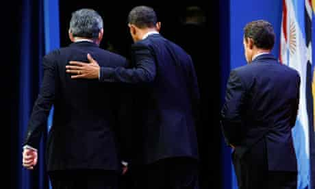 Gordon Brown with presidents Obama and Sarkozy at the G20 summit