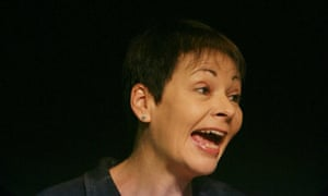 Caroline Lucas, the leader of the Green party, delivers her conference speech on 4 September 2009.